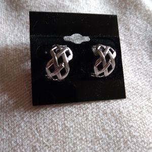 Jewelry - Basket-Weave Silver Tone Earrings